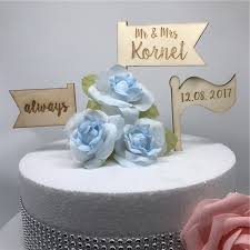 personalised wooden llags wedding cake topper custom name date
