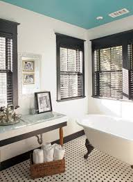 Black Trim Windows Decor White Windows Trim Bathroom With Painted Ceiling