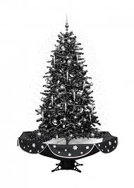 160cm black snowing cascading christmas tree with lights
