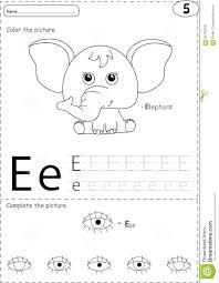 Free Alphabet Tracing Worksheets Cartoon Elephant And Eye Alphabet Tracing Worksheet Writing A