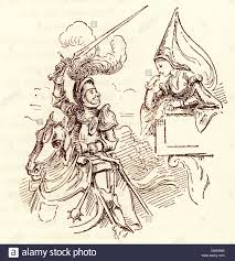 comic sketch by t s seccombe showing a knight and the princess