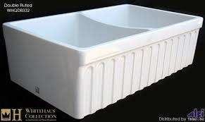 Double Apron Bathtub Whitehaus Whqdb332 Double Bowl Fireclay 33 U0027 U0027 Fluted Farmouse Apron