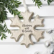 personalised snow flake christmas tree decoration by