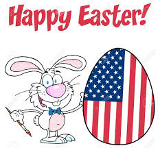 Painting A Flag Happy Easter Text Above A Rabbit Painting Easter Egg With American