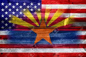 Az State Flag Usa And Arizona State Flag Painted On Old Wood Plank Texture Stock