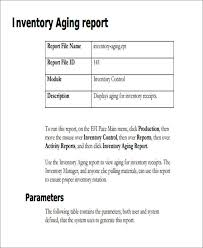 aging report template 9 sle inventory report free sle exle format