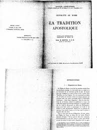 si e apostolique hyppolite de rome la tradition apostolique