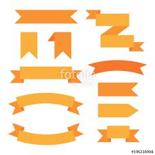 decorative ribbons set of orange web graphic decorative ribbons vector icons