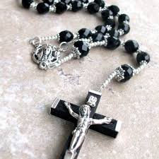 black rosary necklace men images Mens large black crystal rosary necklace with silver rosary jpg