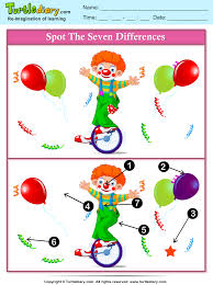 spot the differences clown in cycle worksheet turtle diary
