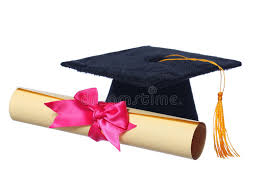 pink graduation cap black graduation cap with degree isolated stock image image of
