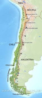 physical map of argentina chile physical map