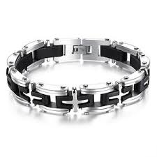 black magnetic bracelet stainless images Stainless steel cross bracelets mens link box chain accessories jpg