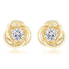 gold studs gold knot diamond earrings solitaire studs 1 4ct