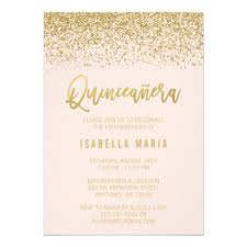 quinceanera invitations modern blush pink faux gold glitter quinceanera card zazzle