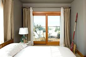 Curtains With Grey Walls Burlap Drapes And Curtains Small Beach Style Bedroom Idea In With
