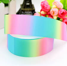 grosgrain ribbon wholesale best price free shipping gradient colors rainbow 4 size printed