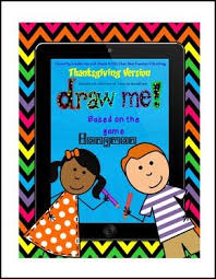 free language arts lesson draw me for thanksgiving hangman