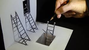 Drawing by Art 3d Drawing How To Draw Ladders Optical Illusion Youtube