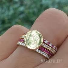 monogramed rings rhinestone fashion ring stack jewels things