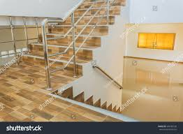 Banister House Staircase Residential House Stainless Steel Banister Stock Photo