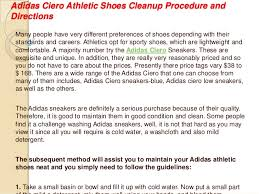 Water Challenge Directions Adidas Ciero Athletic Shoes Cleanup Procedure And Directions