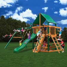 Playground Flooring Lowes by Shop Gorilla Playsets Chateau Wood Playset With Swings At Lowes Com