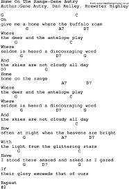 country music home on the range gene autry lyrics and chords