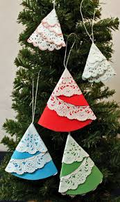 easy crafts paper doily folded tree ornament