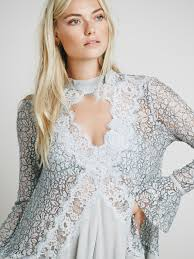 free people secret origins pieced lace tunic in gray lyst