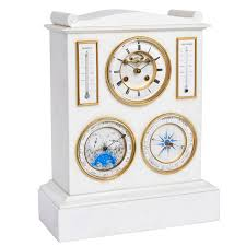 Large Silver Mantel Clock White Marble Mantel Clock Barometer Thermometer And Lunar Scale