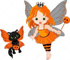 Cute Halloween Vector Cute Halloween Baby Fairy And Cat U2014 Stock Vector Dazdraperma