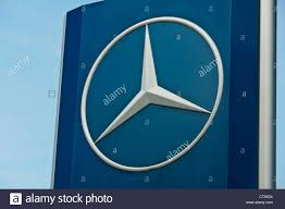 mercedes benz logo car manufacturer mercedes benz star company logo sign board stock