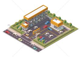 car service center floor plan isometric multi storey car parking and service center vector image