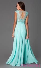 floor length cap sleeve illusion lace prom dress