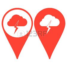 lightning bolt weather flat line icon infographic illustration