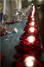 valentines table decorations candles rose petals make a romantic table runner link has