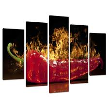 set five panel red kitchen canvas wall art pictures dining room