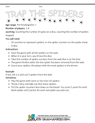 Spider Worksheets Kindergarten Counting Games