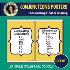subordinating and coordinating conjunctions posters fanboys