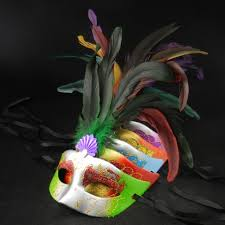 mardi gras material 50pcs feather party mask mardi gras costume christmas gift