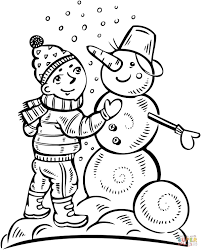 boy making a snowman coloring page free printable coloring pages