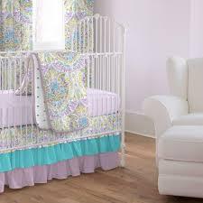 Pink And Aqua Crib Bedding Aqua And Purple Jasmine 3 Piece Crib Bedding Set Carousel Designs