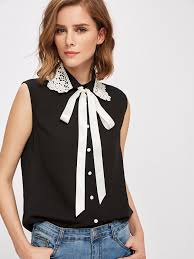 blouse with tie neck lace applique collar tie neck blouse emmacloth fast fashion
