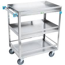 lakeside 526 stainless steel three shelf guard rail utility cart