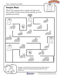 vampire maze free division worksheet for kids smart kids