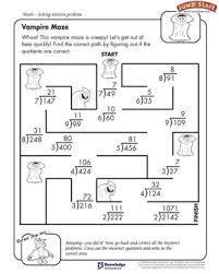 vampire maze free division worksheet for kids smart kids