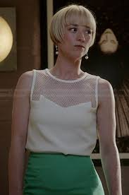 margo revenge hairstyles wornontv margaux s white mesh top and green pencil skirt on