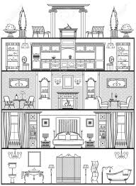 house interior silhouette vector illustration royalty free