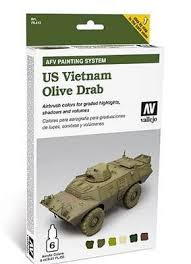 us vietnam olive drab afv paint set 6 colors hobby and model